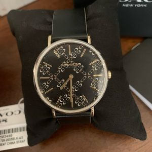 New🖤 coach black leather watch